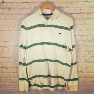 American Eagle long sleeve polo style Rugby shirt